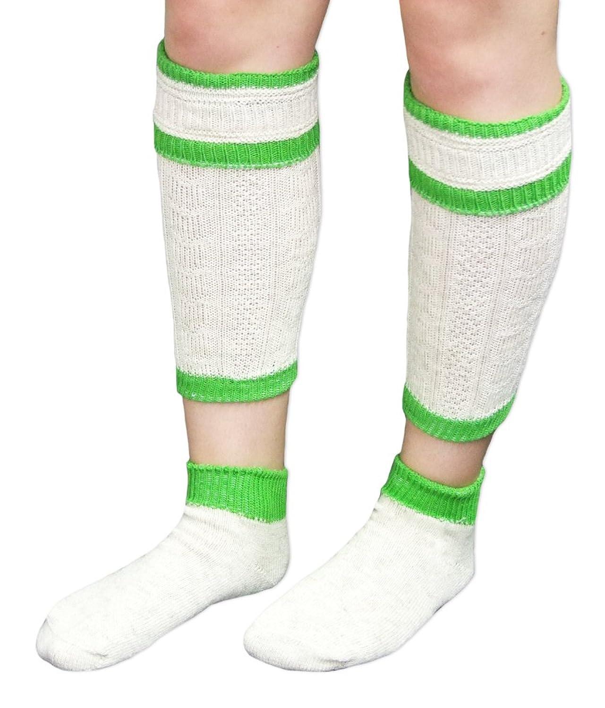 Loferl Trachtensocken Natur mit Rot, Blau oder Grün - Schöne Strick Socken zu Lederhose und Haferlschuhen