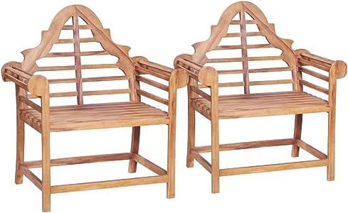 vidaXL Madera Teca Maciza 2X Sillas Jardín 91x62x102cm Mobiliario de Exterior: Amazon.es: Hogar