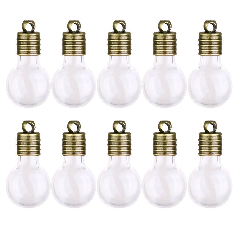Romote Mini Fiale fascini del pendente bottiglie di desiderio fai da te di vetro di 10 (lampadina)