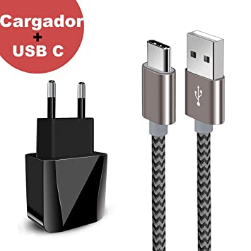 Zeuste-Quick Cargador Móvil con 2 Puertos USB Compatible con la mayoría de Dispositivos móviles,2M Gris Cable USB Tipo C para Samsung Galaxy ...