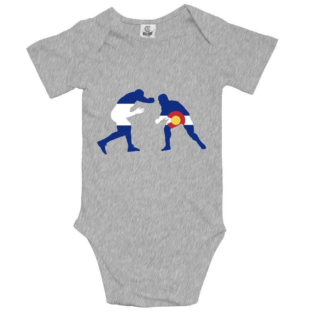 GQOP Infant Short Sleeve Onesies Colorado Flag Wrestling Lover Baby Bodysuit Romper by GQOP