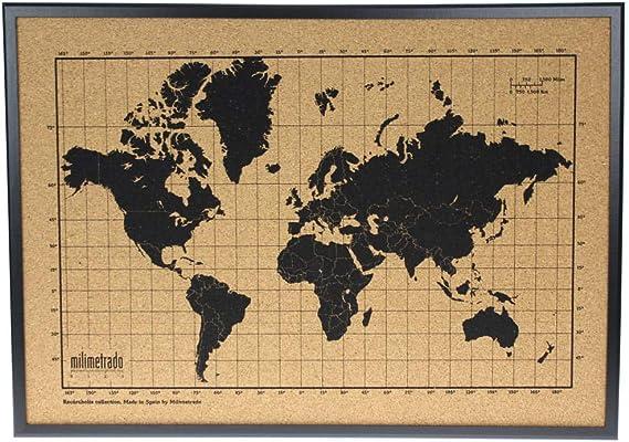 Mapa mundi de corcho pared marco madera - Mapa del mundo para marcar viajes - Tablero de corcho - Regalos originales para viajeros - Diseñado y fabricado en España por Milimetrado, Negro: