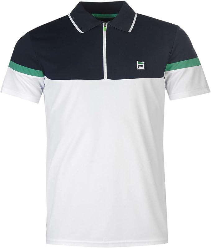 Fila Hombre Plus Cremallera Polo Camisa Mangas Cortas Collar Cuello Verano Top White/Blue XXX Large: Amazon.es: Ropa y accesorios