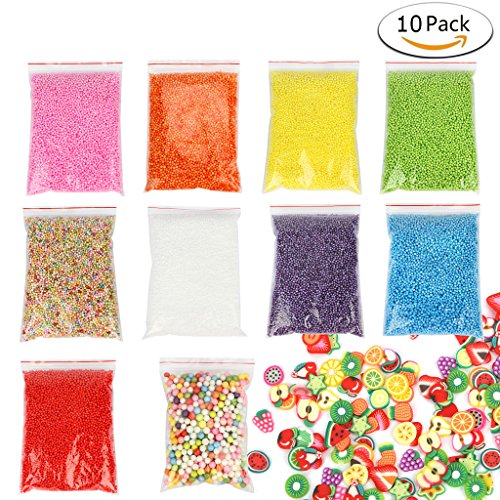 Foam Balls for Slime, iBayam Colorful Styrofoam Balls Beads Mini 0.08-0.35 inch Decorative Ball Arts DIY Crafts Supplies For Homemade Slime, Kid's Craft, Wedding and Party Decoration (10 pack)