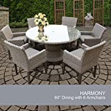 Harmony 60 Inch Outdoor Patio Dining Table With 6 Chairs For Sale