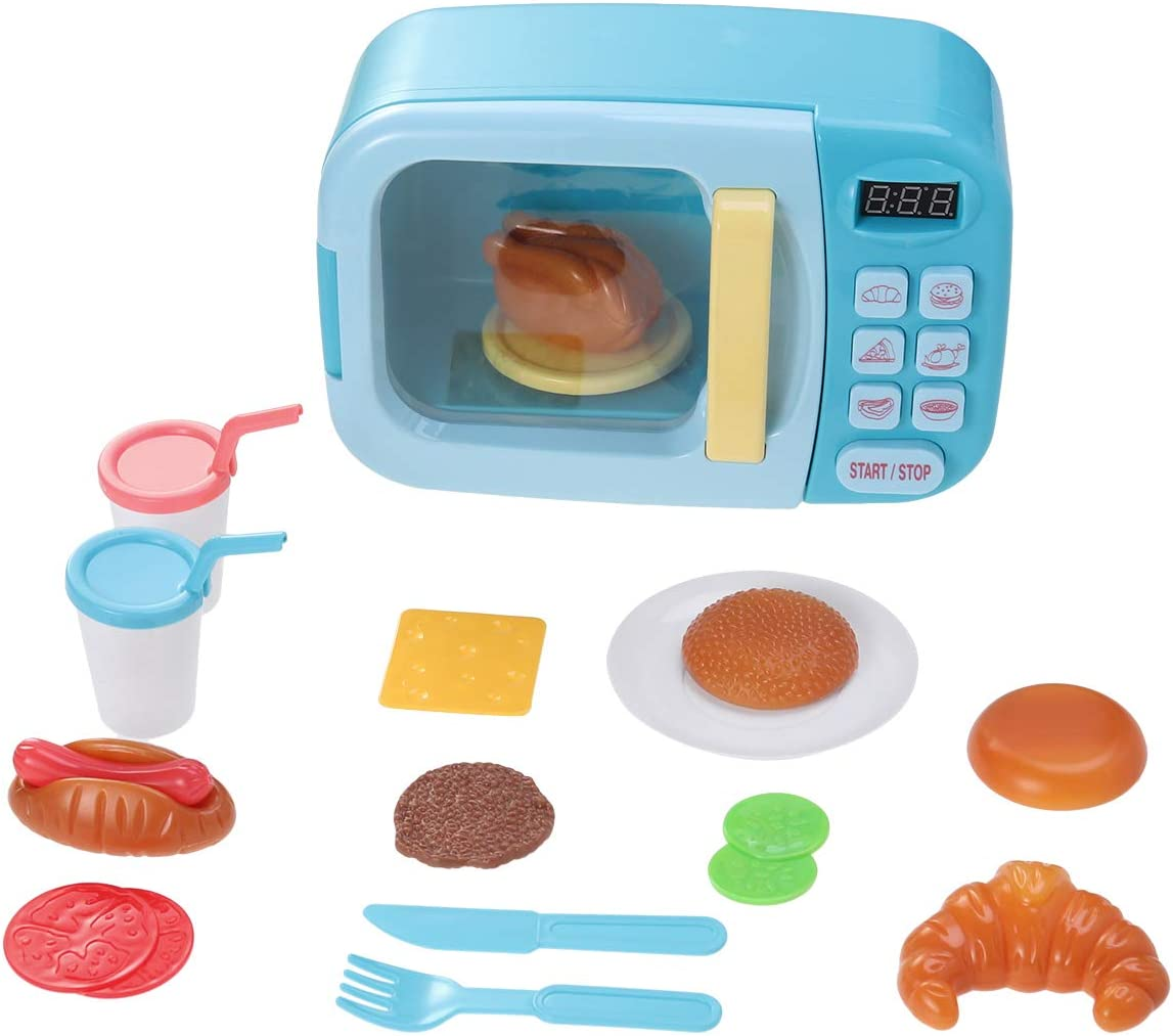 Toyvian Horno simulado Juguetes de Cocina con Horno de microondas Giratorio y Juegos de Comida Falsos Juego de microondas para niños pequeños sin batería (Azul)