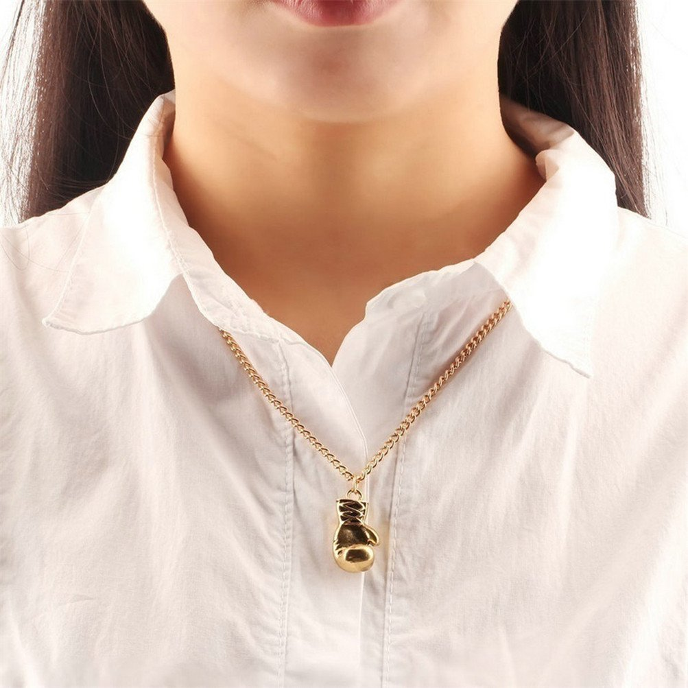 Gold Color Flybloom Women Men Necklace Boxing Pendant Chain Necklace Sweater Chains Charm Accessories