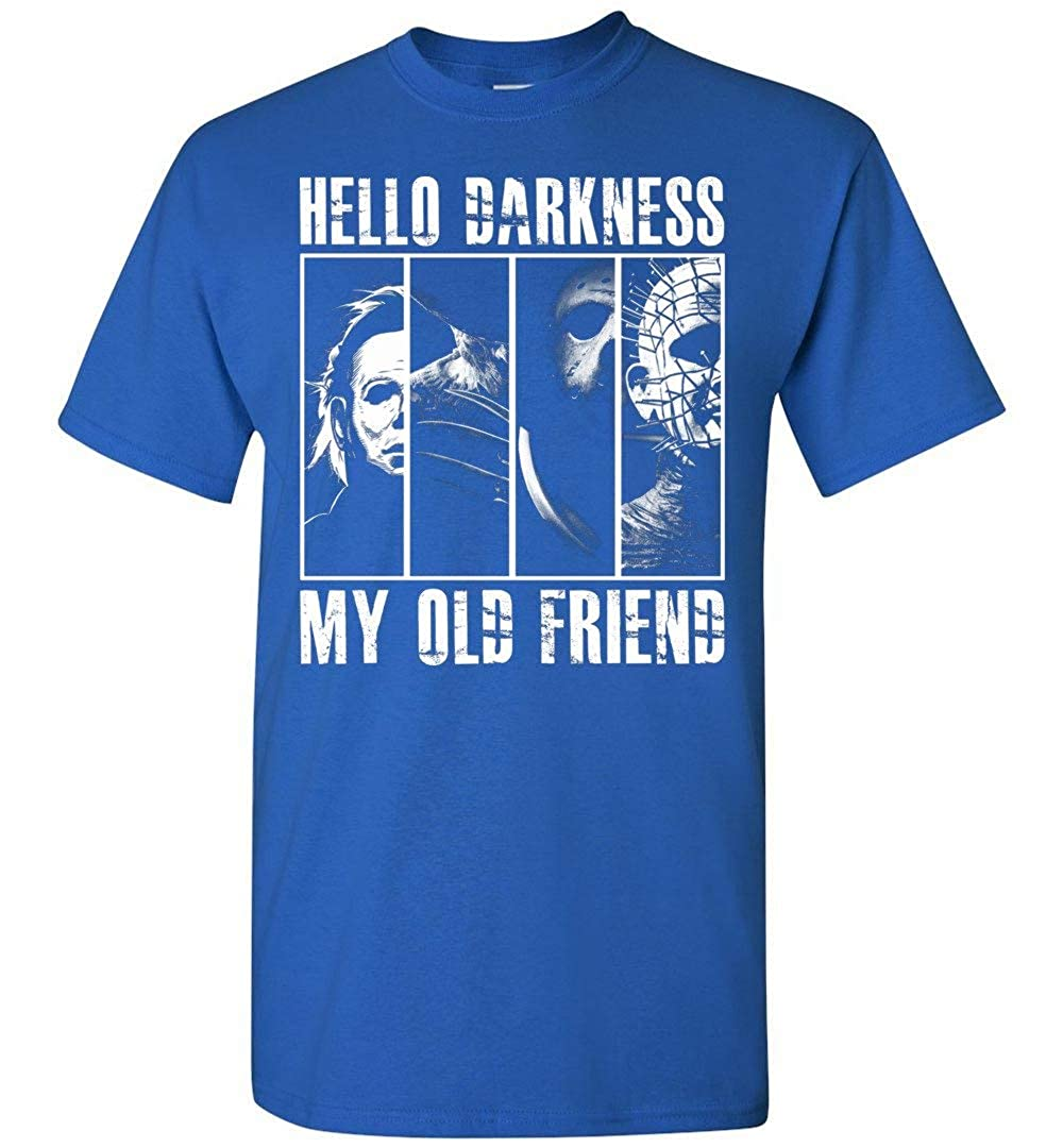 Hello Darkness My Old Friend Michael Myers Jason Voorhees Halloween Mashup Adults and Youth T-Shirt