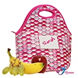 Girls Cute Lunch Tote Bag (Premium Insulation) with ID Card Pocket | Machine Washable Premium Neoprene Material | Vibrant Pink Mermaid Style (Pink)