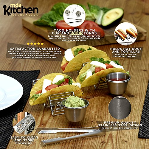 Deluxe Stainless Steel Taco Holder - Taco Stand - Taco Rack - Taco Serving Tray By mdaKitchen – With Sauce Dip Salsa Guacamole Cup & [BONUS Tongs & eBook] – Dishwasher Safe - Set of 2 by mdaKitchen (Image #1)