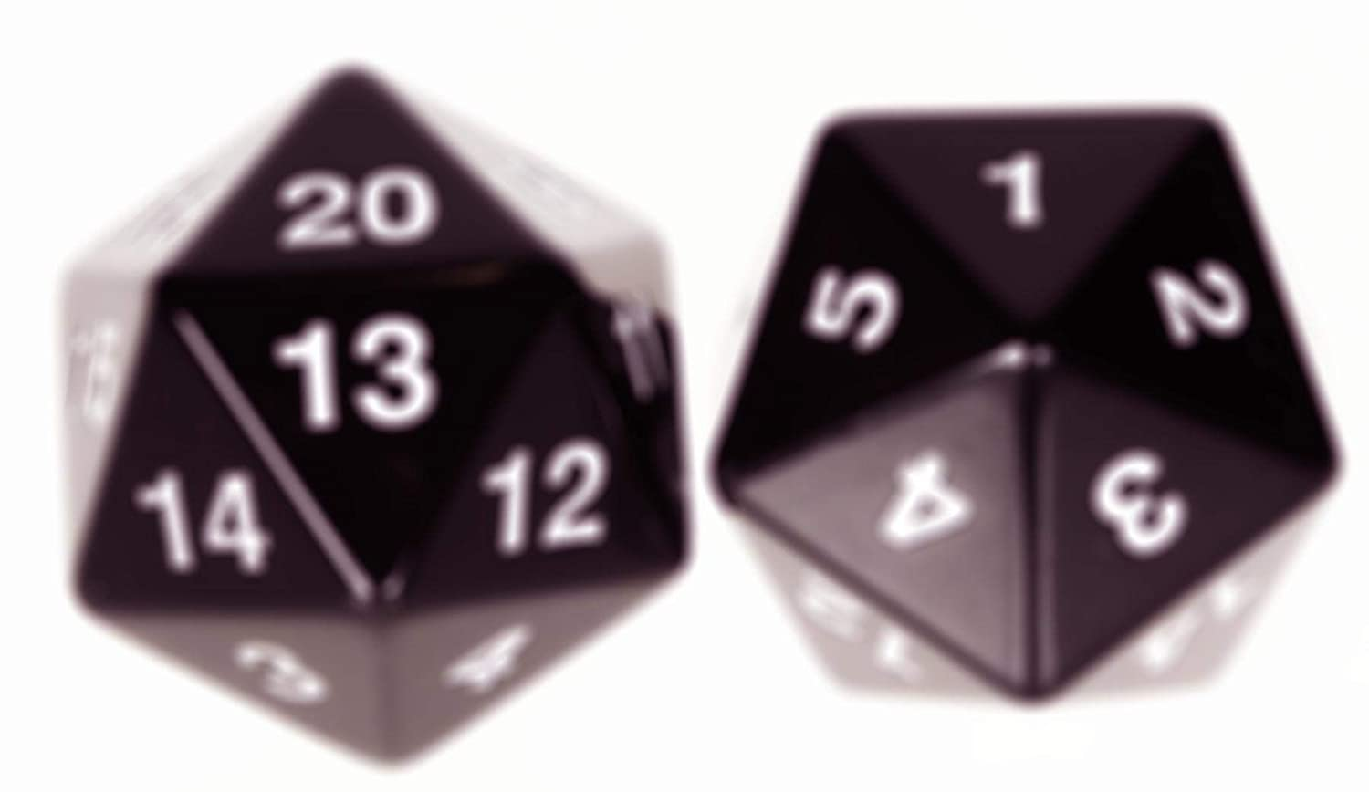 Big Jumbo 20Sided, d20 Black Dice Bundle of 2 Identical Dice