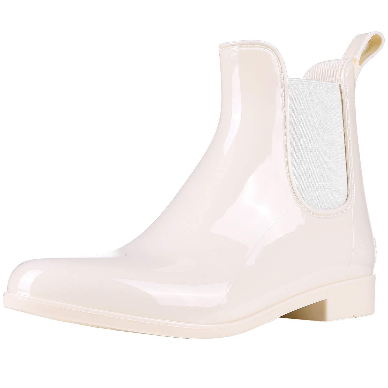 0606d07d2f66a Evshine Women's Short Ankle Rain Boots Lightweight Chelsea Rain Boots  Rubber Waterproof Booties WT37 Beige