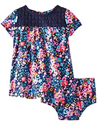 Baby Girls' Floral Print and Crochet Knit Dress and Panty Set