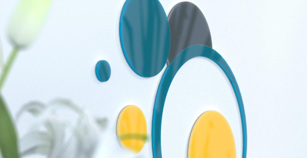 Deko Wand-Wohnzimmer originelle Blaue Ente und grau silber rot   schwarz   grau foncÃeacute; Blau Canard   Gelb   grau foncÃ