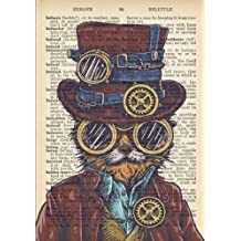 Steampunk Cat Vintage Dictionary Artwork Notebook: 7 x 10 inch Ruled Notebook/Journal