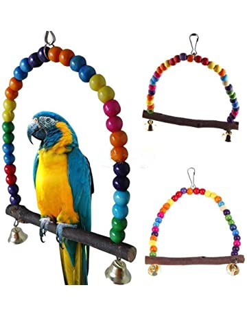 Wooden Bird Parrot Stand Holder Paw Grinding Perch Chew Pets Toys Hanging Cage Drop Ship Sophisticated Technologies Bird Toys Pet Products