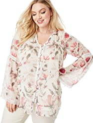 461989525ee95 Roamans Women s Plus Size Chiffon Bell Sleeve Top with Lace