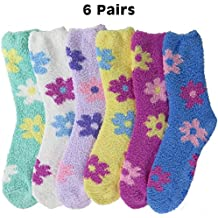 Bright Fuzzy Socks Ultra Soft Womens 6-pack Striped & Solid By DEBRA WEITZNER