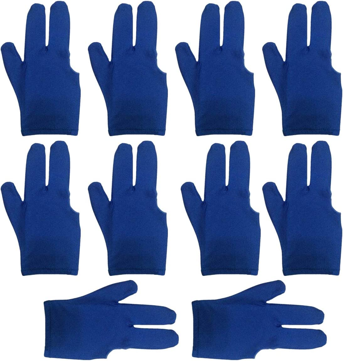 lasenersm ビリヤードグローブ 10個 3本指ビリヤードグローブ プールキューグローブ 3本指ショーグローブ スヌーカーグローブ 右手または左手に着用 メンズ レディース ブルー