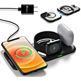 Lopnord Magnetic Wireless Charger Stand for iPhone 12 Pro Max, 4 in 1 Wireless Charging Station for Mag Safe, Detachable Qi C