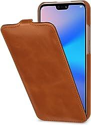StilGut UltraSlim, Housse en Cuir pour Huawei P20 Lite. Étui de Protection à Ouverture Verticale en Cuir Fin et léger pour Huawei P20 Lite, Cognac