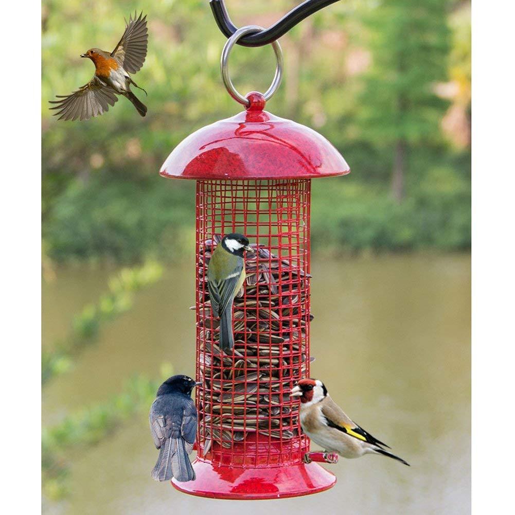 Red Bird Feeder – Classic Tube Hanging Feeders Outdoor Hanging Wild Bird Feeder Peanut Paradise Feeder
