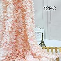 Homcomoda 12PC Artificial Silk Hydrangea Flower Hanging Wisteria Cattleya Vine Garland...