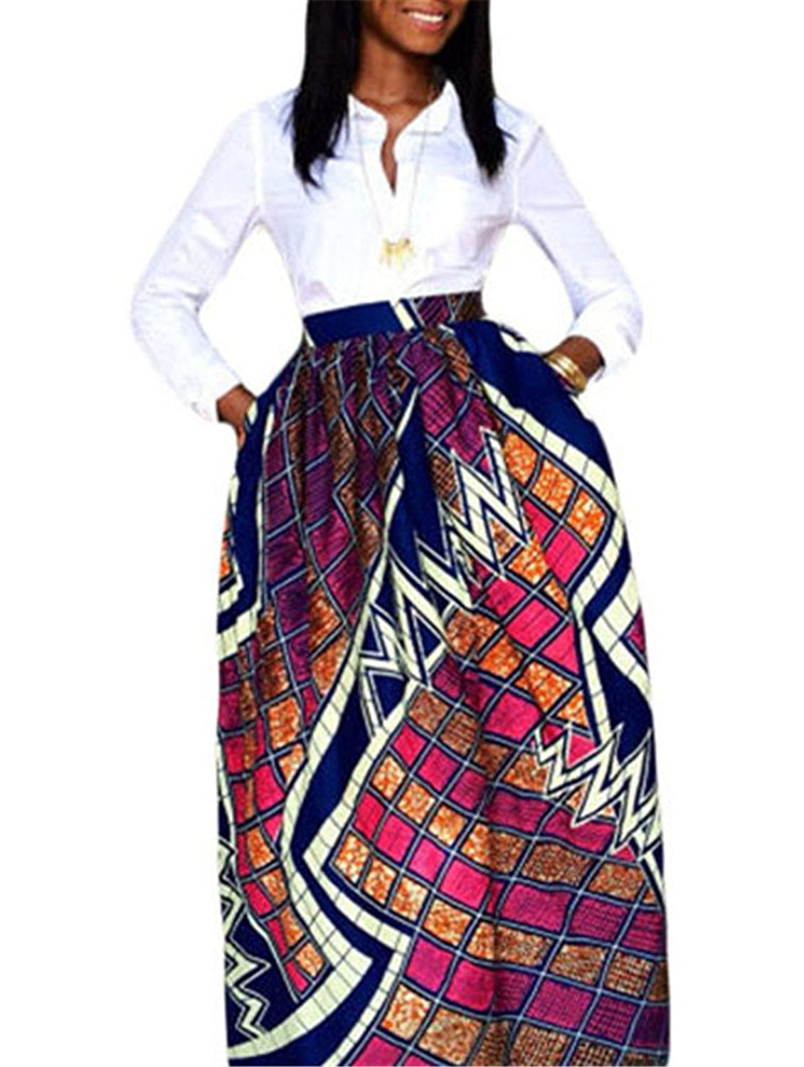 JomeDesign Women's African Floral Print Casual Pleated Dress A Line Maxi Skirt