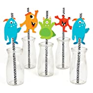 Big Dot of Happiness Monster Bash - Paper Straw Decor - Little Monster Birthday Party or Baby Shower Striped Decorative Straws - Set of 24