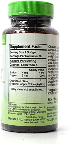 Herbs Etc. ChlorOxygen Chlorophyll Concentrate – 60 Softgels Quantity of 3
