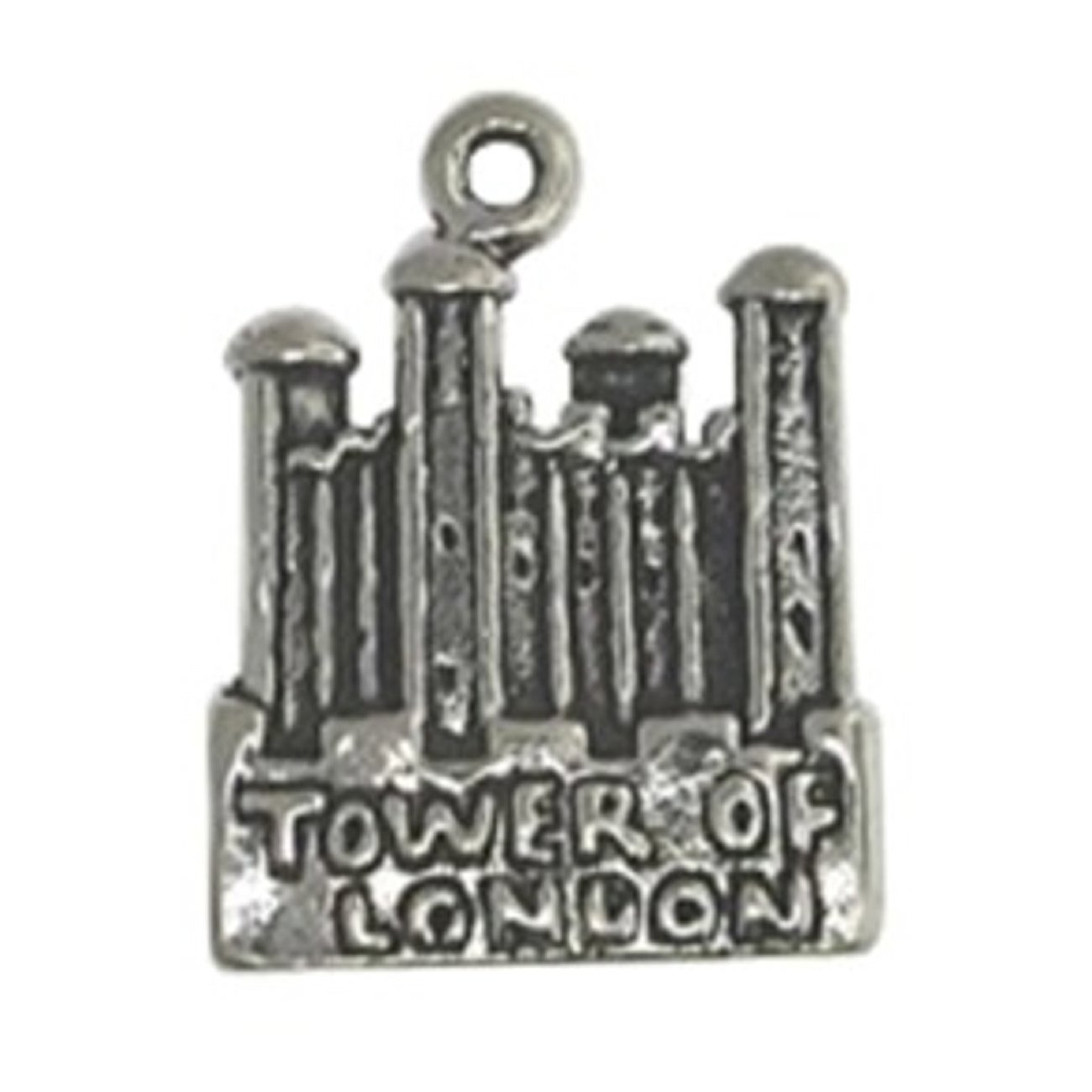 Sterling Silver Girls .8mm Box Chain Tower Of London Pendant Necklace