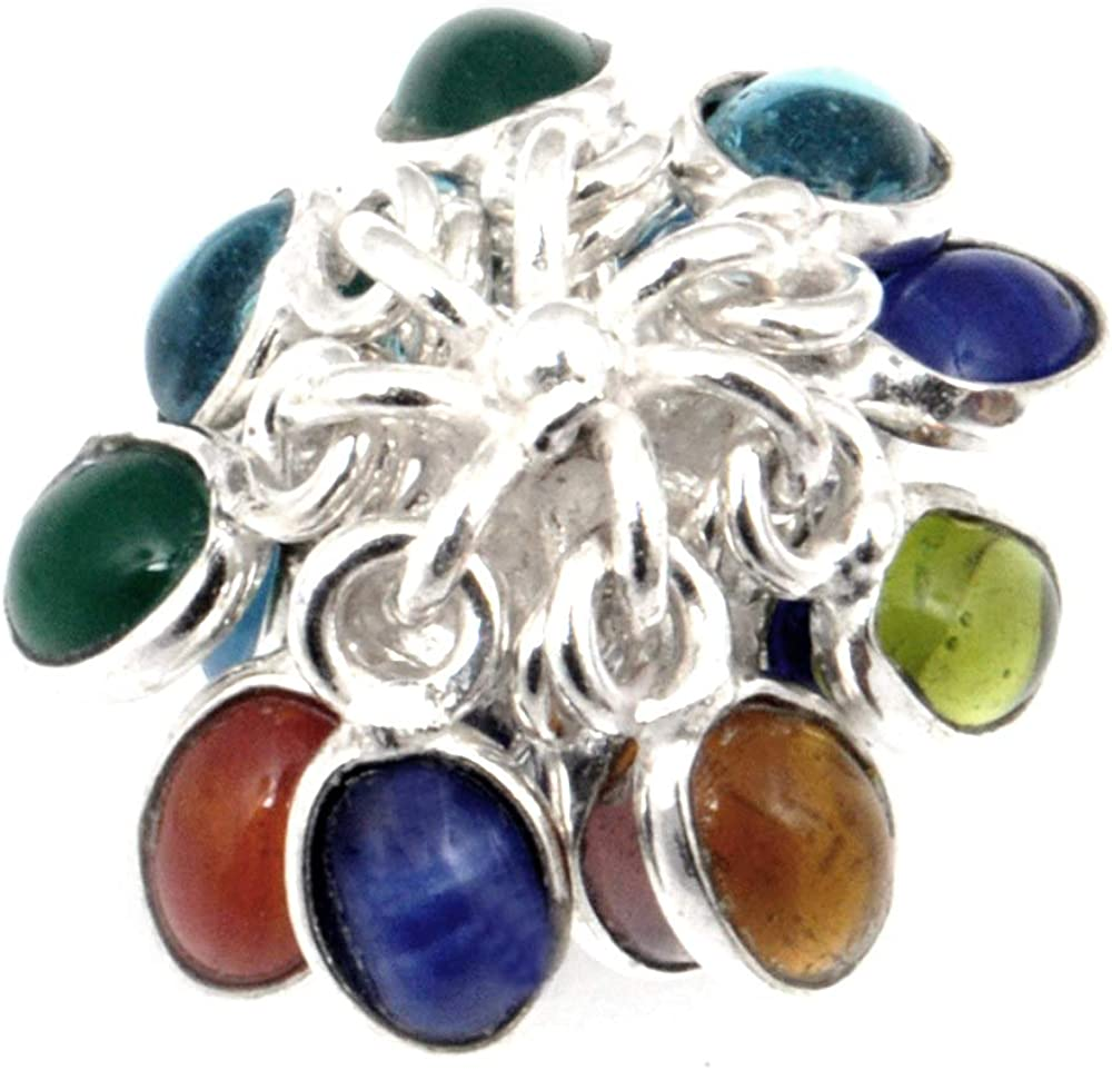 Grapes Of Multi-Stone Quartz Sterling Silver Overlay Ring Size 8 US Exotic Handmade