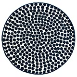 IKEA Modern Blue White Round Throw Area Rug Mat Low Pile Flong