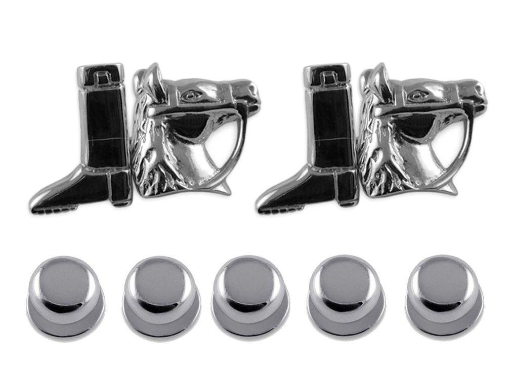 Sterling silver horse & riding boot Cufflinks Shirt Dress Studs Gift Set