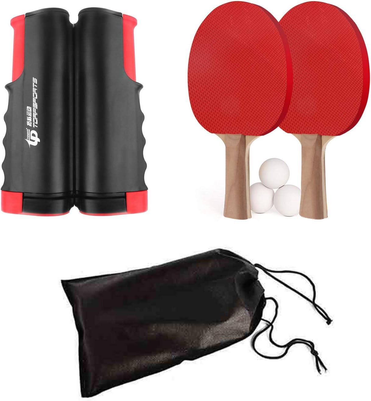 FOOING Sets de Ping Pong, 1 Red de Tenis de Mesa, 2 Palas de Ping Pong, 3 Pelotas de Ping Pong con Bolsa, Portátil para el Juego Interior al Aire Libre