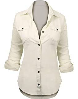 34d08a402ea HOT FROM HOLLYWOOD Women's Button Down Roll up Sleeve Classic Denim Shirt  Tops