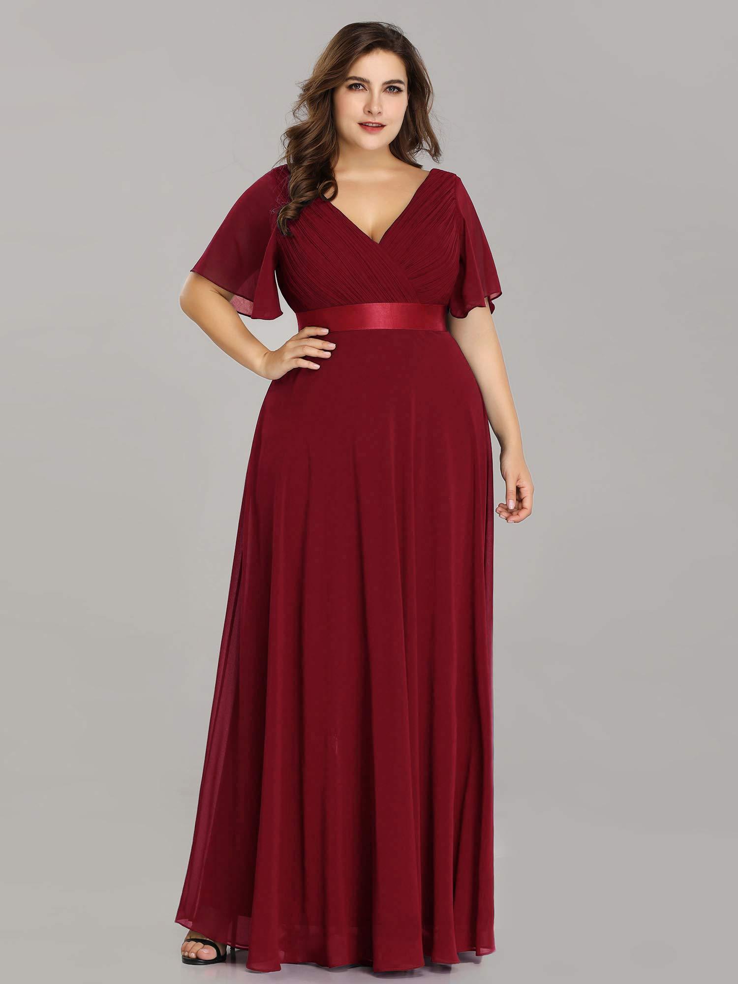 Alisapan Womens A-Line Bridesmaid Dress Plus Size Formal Evening Dresses  Burgundy US20
