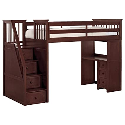 finest selection e1892 80a28 Amazon.com: NE Kids School House Stair Loft Bed in Cherry ...