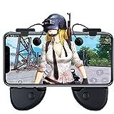【進化版】Lyoo PUBG Mobile/荒野行動 ゲームコントローラー 金属機械ボタン 高感度 吸盤 コントローラ&グリップ一体式 ジョイスティック ゲームパッド スマホブラケット iPhone/Android 対応 左右2個セット
