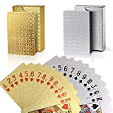 Joyoldelf 2 Decks of Playing Cards, 24K Foil Waterproof Poker with Gift Box - Classic Magic Tricks Tool for Party and Game, 1 Gold + 1 Silver