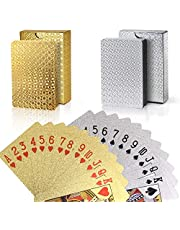 Joyoldelf 2 Decks of Playing Cards, 24K Foil Waterproof Poker with Gift Box – Classic Magic Tricks Tool for Party and Game