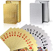 Joyoldelf 2 Decks of Playing Cards, 24K Foil Waterproof Poker with Gift Box – Classic Magic Tricks Tool for Pa