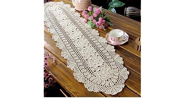 Kamay s® Hecho a mano Crochet redonda encaje de algodón Camino de mesa 30 x 90 cm beige A1001: Amazon.es: Hogar