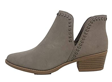SODA Women s Nery Slip-On Open Side Whipstiched Western Ankle Bootie (6 B( fe657a80e