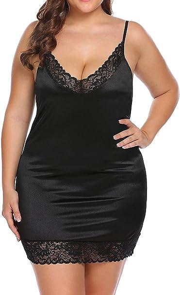 Black Satin Full length nightdress slip gown pjs plus size 8-24 uk Dress silky