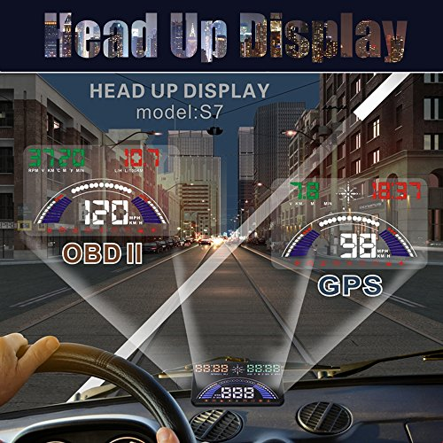 Techstick New 5.8 inch S7 HUD Head Up Display with OBD2 Interface Plug Play KM/h MPH Speeding Warning Combine OBD & GPS System Freely Switch