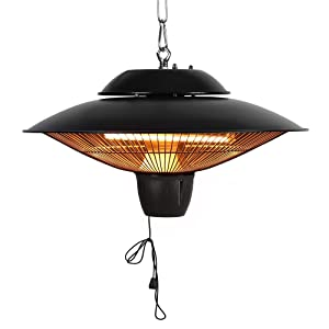 Star Patio Electric Patio Heater, Outdoor Ceiling Patio Heater, Black with Infrared Heating Element, Outdoor Patio Heater Suitable as a BBQ Party Heater, Balcony Heater, and Verandah Heater, 1524