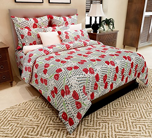 Home Candy 144 TC Lovely Cotton Double Bedsheet with 2 Pillow Covers – Multicolor (CTN-BST-417)