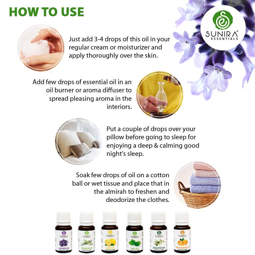 SUNIRA Essential Oil Gift Set of 06, Therapeutic Grade, 100% Pure Essential Oils (Lavender, Rosemary, Basil, Lemon, Eucalyptus & Orange) by SUNIRA (Image #5)