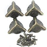 4pcs Angles de Pieds Antiques en Alliage pour Protection de Boîte de Triangle Cornières et Décoration de Meubles 20mm